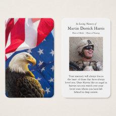Patriotic Prayer Cards | Bald Eagle with Flag
