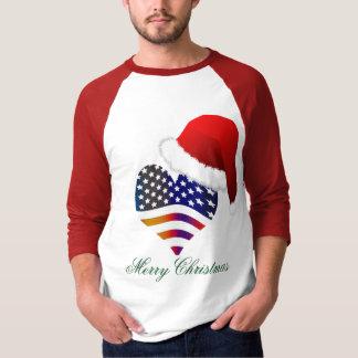 Patriotic Proud Flag Heart Santa Christmas Holiday T-Shirt