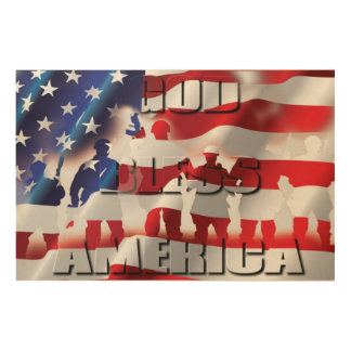 Patriotic&Proud God Bless America and the Soldiers Wood Wall Art