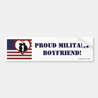 Patriotic Proud Military Boyfriend Bumper Sticker