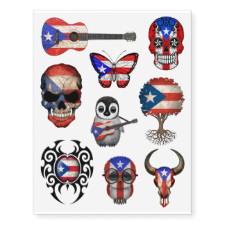 Patriotic Puerto Rican Flags Collection Temporary Tattoos