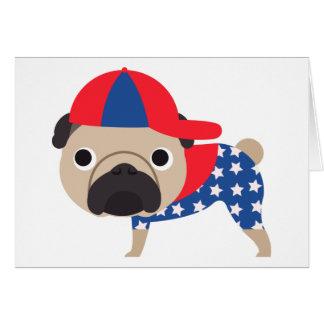Patriotic Pug Wearing Baseball Hat  - ADD TEXT Card