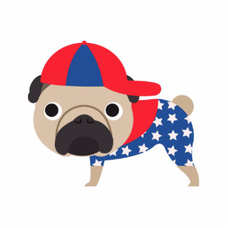 Patriotic Pug Wearing Baseball Hat  - ADD TEXT Standing Photo Sculpture