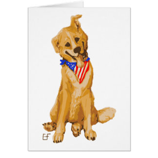 """Patriotic Pup"" Dog With American Flag Bandanna Greeting Card"