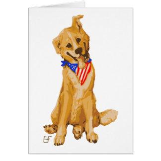 """Patriotic Pup"" Dog With American Flag Bandanna Card"