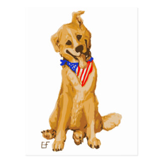 """Patriotic Pup"" Dog With American Flag Bandanna Postcard"