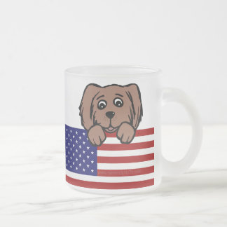 Patriotic Pup Frosted Glass Coffee Mug
