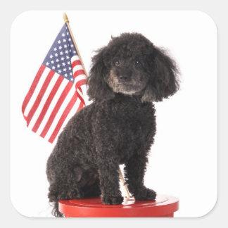 Patriotic Puppy Design Square Sticker