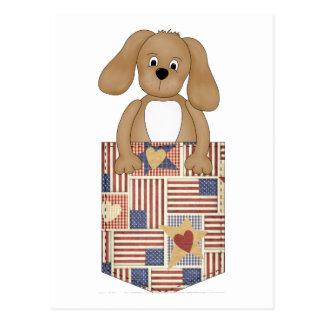 Patriotic Puppy Pocket Post Card