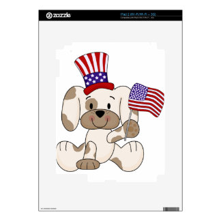 Patriotic Puppy with USA Flag Skins For iPad 2