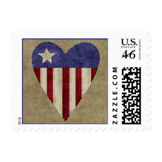 Patriotic quilted heart burlap holiday stamps