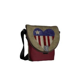 Patriotic quilted heart burlap messenger bag