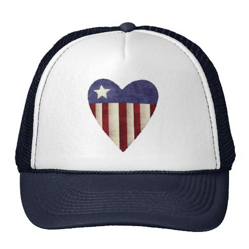 Patriotic quilted heart navy hat