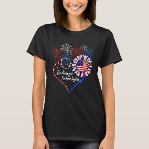 Patriotic Radiologic Technologist Sunflower 4Th Of T_Shirt