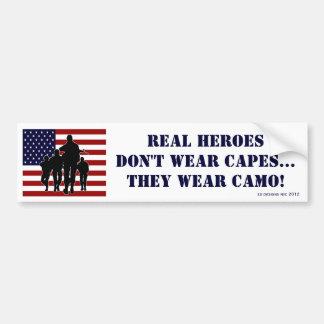 Patriotic Real Heroes Wear Camo Bumper Sticker Car Bumper Sticker