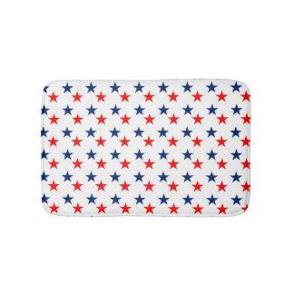 Patriotic Red and Blue Stars Bath Mat