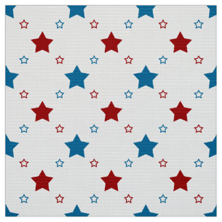 Patriotic Red and Blue Stars on White Background Fabric