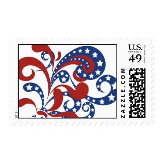 Patriotic Red and Blue Streamers with Stars Postag Postage