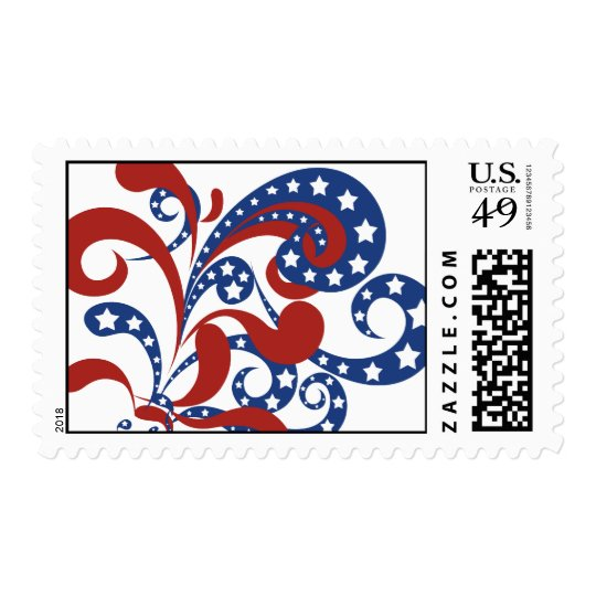 Patriotic Red and Blue Streamers with Stars Postage