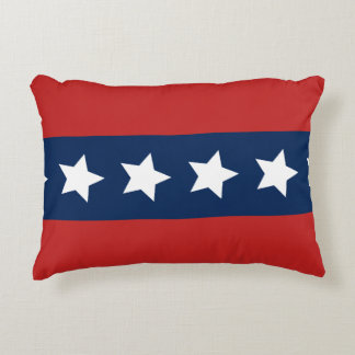 Patriotic Red and Blue Stripes with Stars Accent Pillow