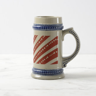 Patriotic Red and White Stars and Stripes Freedom Beer Stein