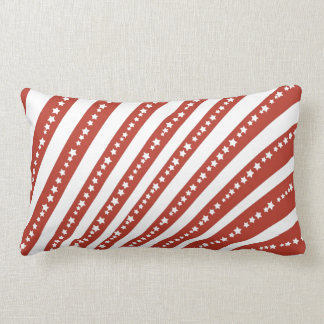 Patriotic Red and White Stars and Stripes Freedom Lumbar Pillow