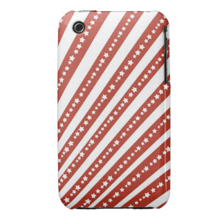 Patriotic Red and White Stars and Stripes Pattern iPhone 3 Case