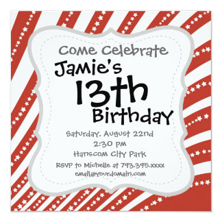 Patriotic Red and White Stars and Stripes Pattern Invitation