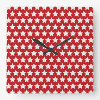 Patriotic Red and White Stars Pattern 4th of July Wallclock