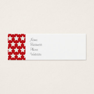 Patriotic Red and White Stars Pattern 4th of July Mini Business Card