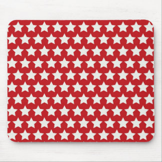 Patriotic Red and White Stars Pattern 4th of July Mouse Pad