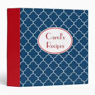 Patriotic Red Blue Recipe Kitchen Binder Gift