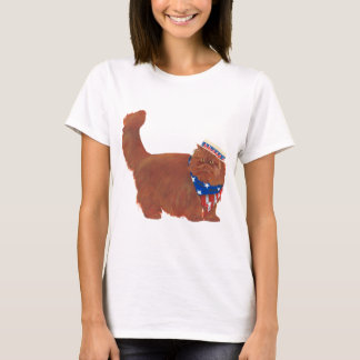 Patriotic Red Longhair Persian Cat T-Shirt