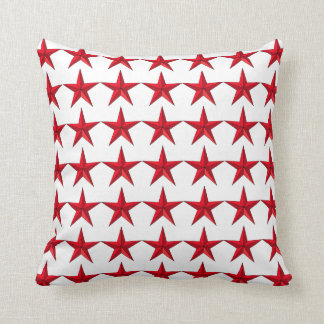 Patriotic Red Stars on White Field Accent Pillow