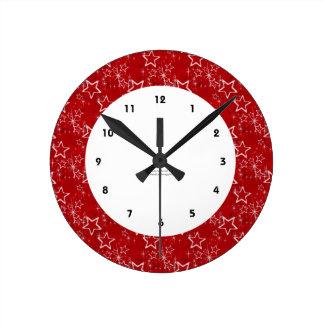Patriotic Red Stars Wall Clock