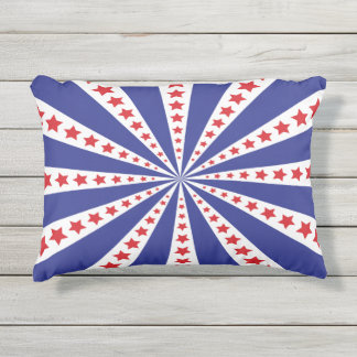 Patriotic Red White and Blue Burst Outdoor Pillow