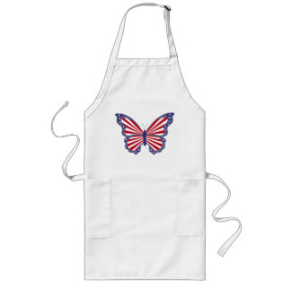 Patriotic Red White And Blue Butterfly Apron