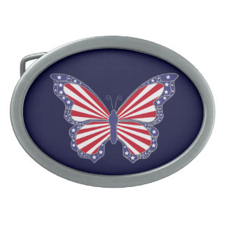 Patriotic Red White And Blue Butterfly Belt Buckle