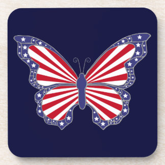 Patriotic Red White And Blue Butterfly  Coasters
