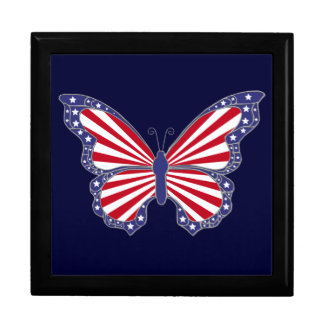 Patriotic Red White And Blue Butterfly Gift Box