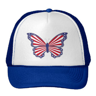 Patriotic Red White And Blue Butterfly Hat