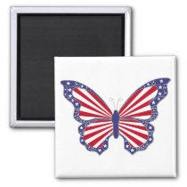 Patriotic Red White And Blue Butterfly  Magnet