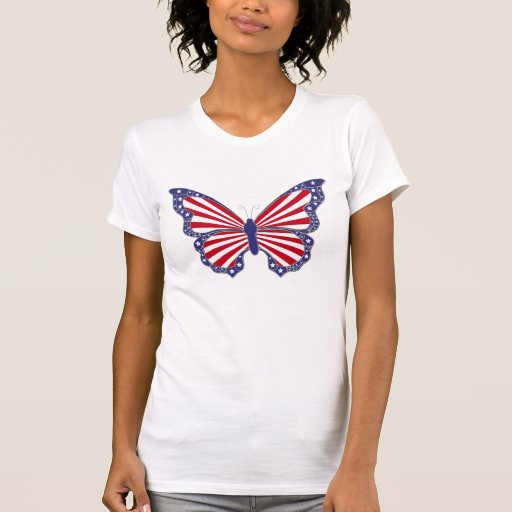 Patriotic Red White And Blue Butterfly Shirt