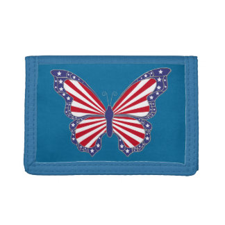Patriotic Red White And Blue Butterfly Wallet