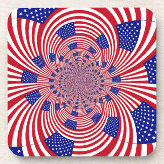 patriotic red white and blue coaster set