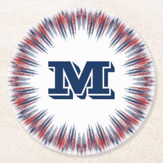 Patriotic Red White and Blue Fireworks Monogram Round Paper Coaster
