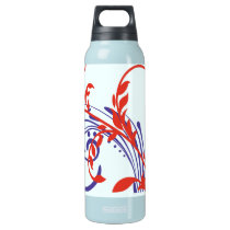 Patriotic Red White and Blue Floral Swirls Insulated Water Bottle