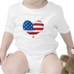 Patriotic Red, White and Blue Heart Baby Bodysuits