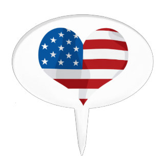 Patriotic Red, White and Blue Heart Cake Toppers