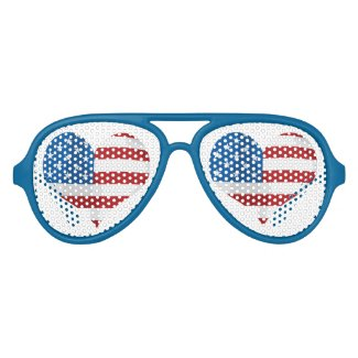 Patriotic Red, White and Blue Heart Sunglasses